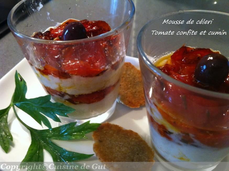 Mousse de céleri, tomates confites et cumin