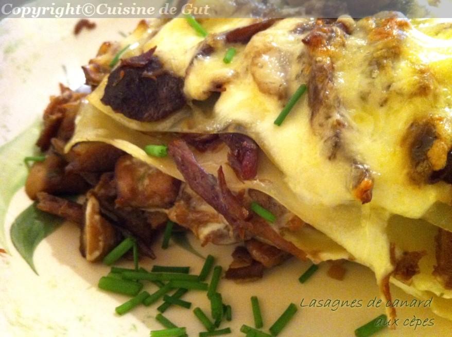 Lasagnes de canard aux cèpes
