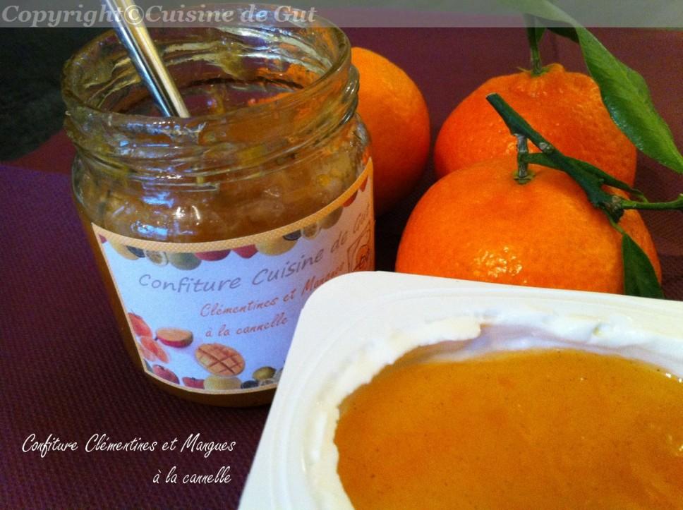 Confiture clementines et mangues à la cannelle