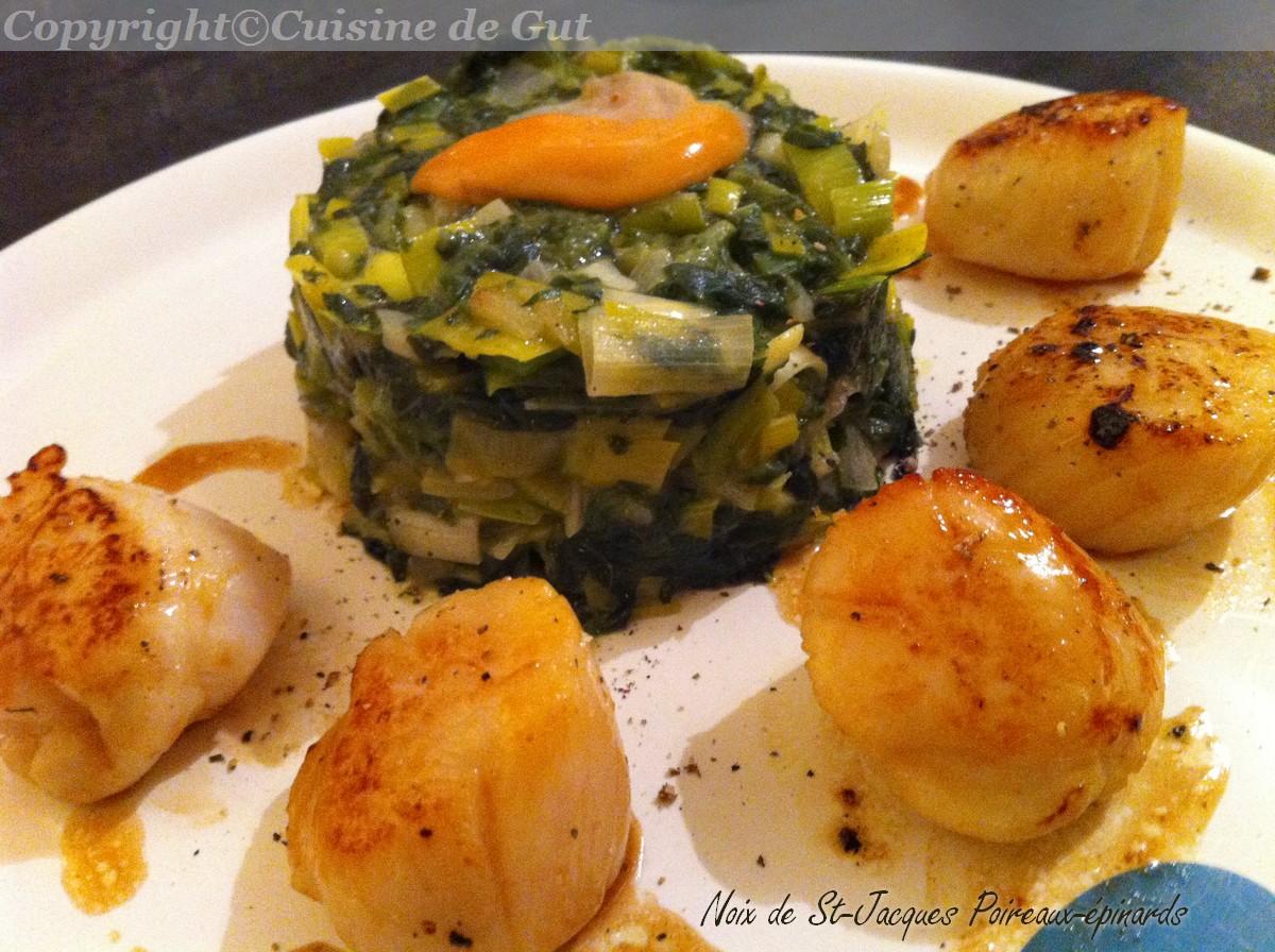 Noix de st jacques poireaux pinards cuisine de gut - Cuisine noix de saint jacques ...