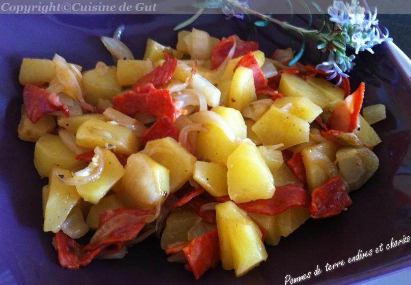Pommes de terre endives et chorizo