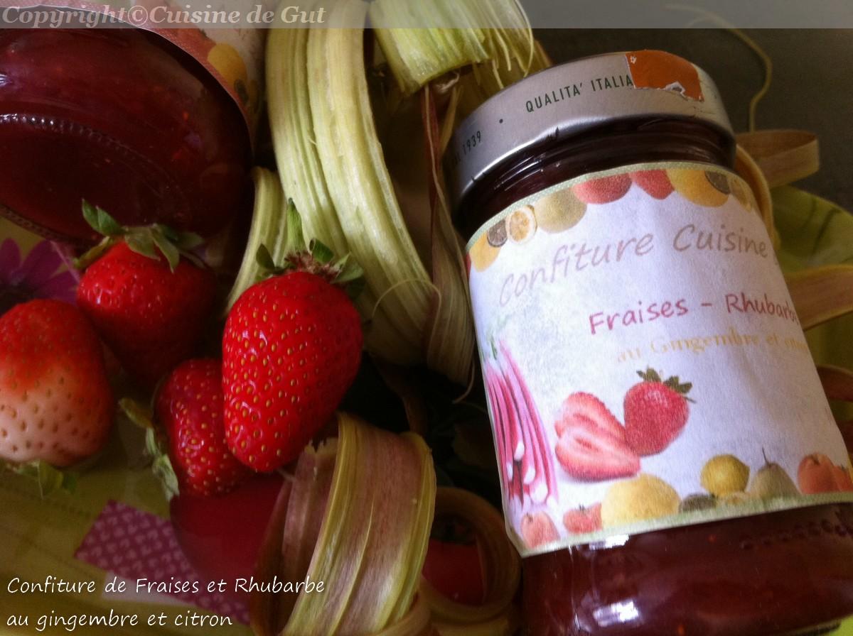 confiture de fraises et rhubarbe au gingembre et citron. Black Bedroom Furniture Sets. Home Design Ideas