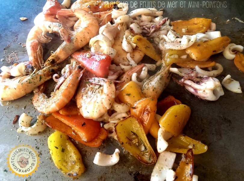 Plancha de fruits de mer et mini poivrons1