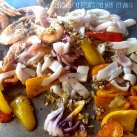 Plancha de fruits de mer et mini-poivrons
