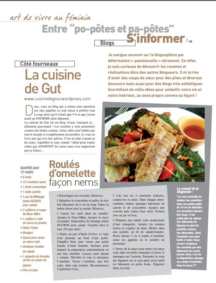L art de vivre au f minin parle de cuisine de gut for Au feminin cuisine