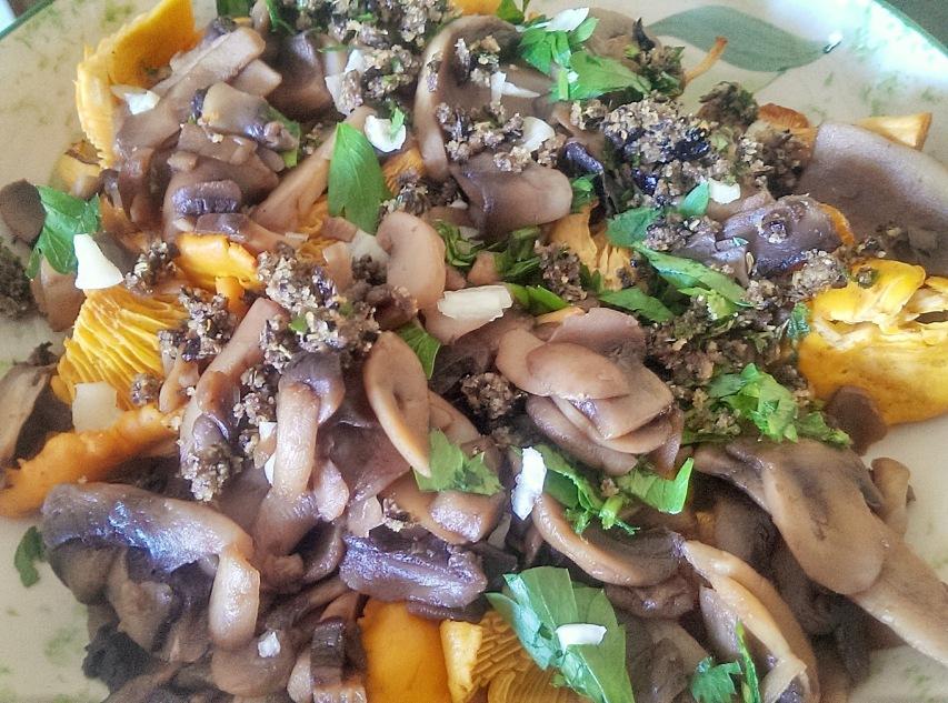Poêlée de champignons aux olives