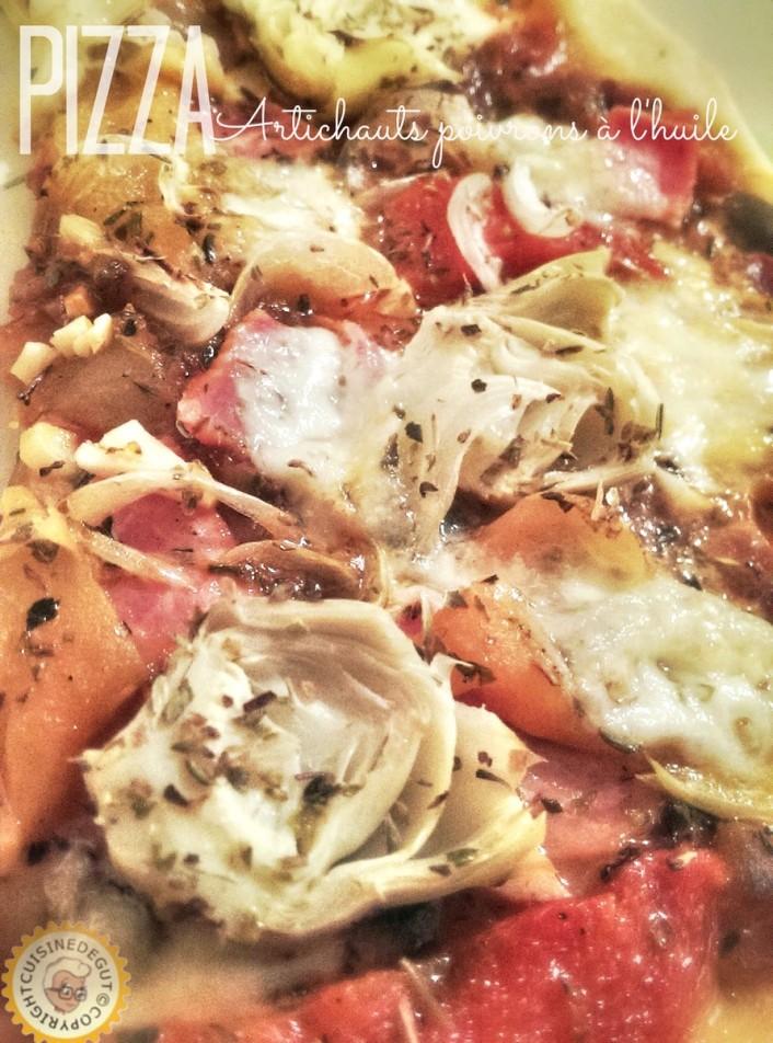Pizza artichauts poivrons à l'huile