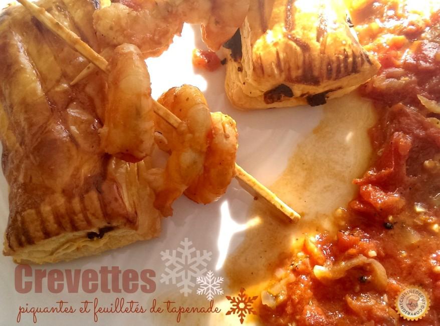 Crevettes piquantes et feuilletés de tapenade