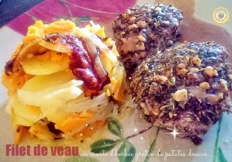 Filet de veau en croûte d'herbes et gratin