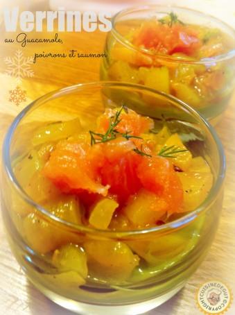 Verrines au guacamole, poivrons et saumon