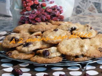 Coockies chocolat blanc cranberries Cathy