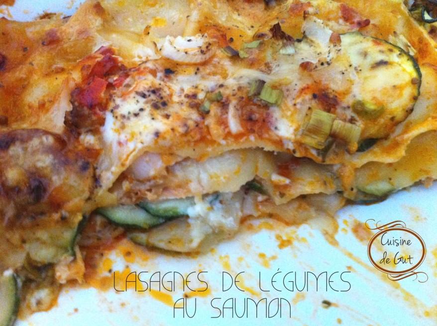 Lasagnes de légumes au saumon part coupée