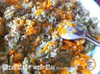 Farce au chou, jambon e carottes