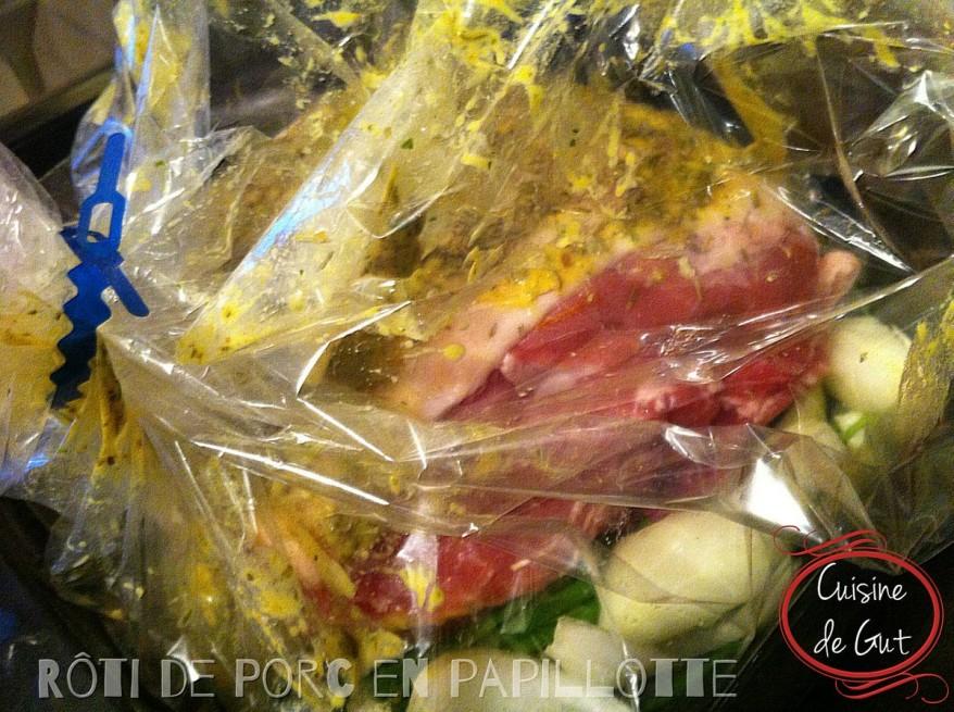 Rôti de porc en papillotte cru
