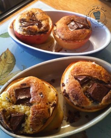 Pommes et crème d'amande chocolatée