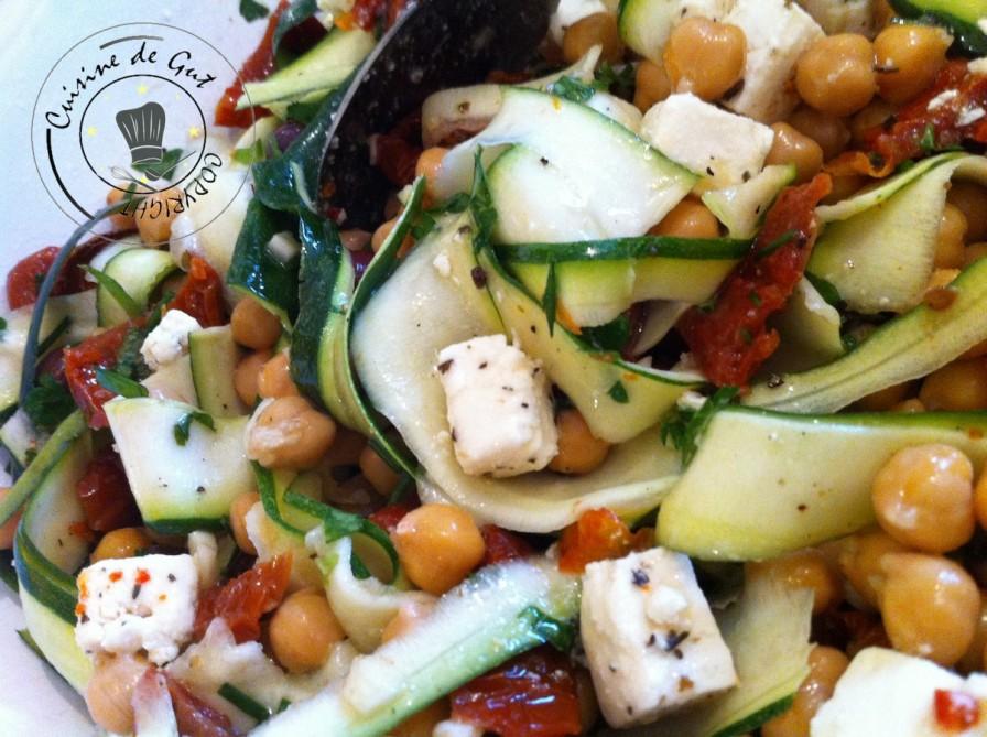 Salade de pois chiches trop parfumée AVEC courgettes