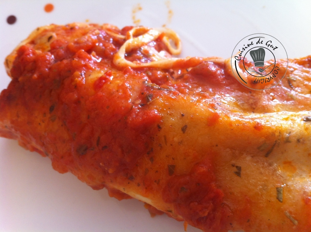 Cannelloni courgettes lardons jambon assiette.