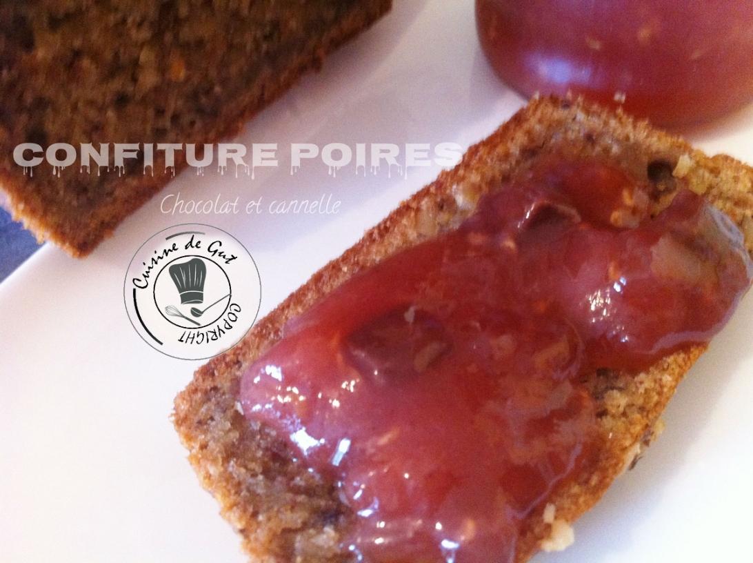 Confiture Poires pomme chocolat cannelle