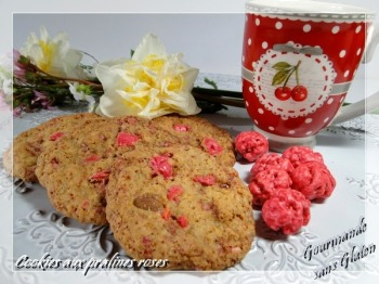 cookies aux pralines roses gourmande sans gluten