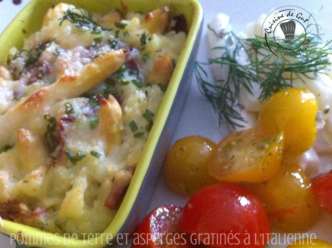 pommes de terre et asperges gratinés assiette