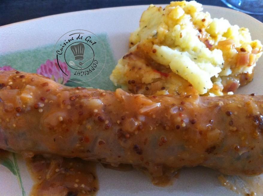 Andouillette moutarde au piment d'espelette assiette