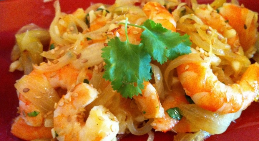 Crevettes et fèvesaux oignons Crevettes