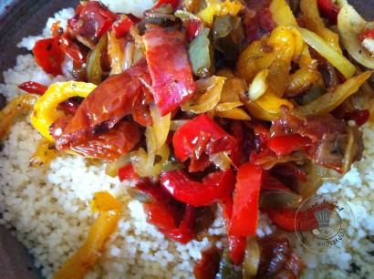 Filet mignon sauce sofrito à la plancha semoule