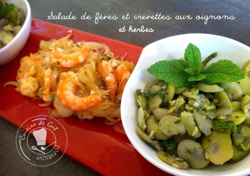 Salade de fèves et crevettes aux oignons