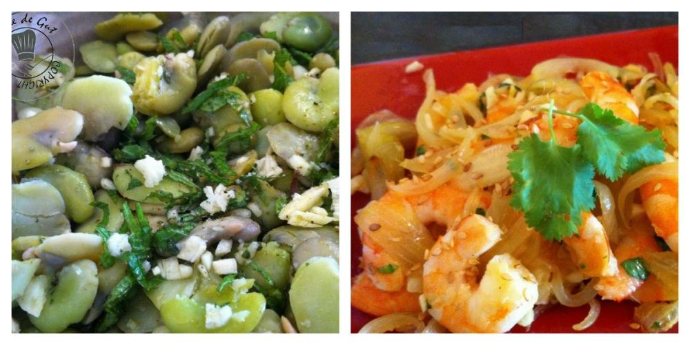 Salade de fèves et crevettes collage
