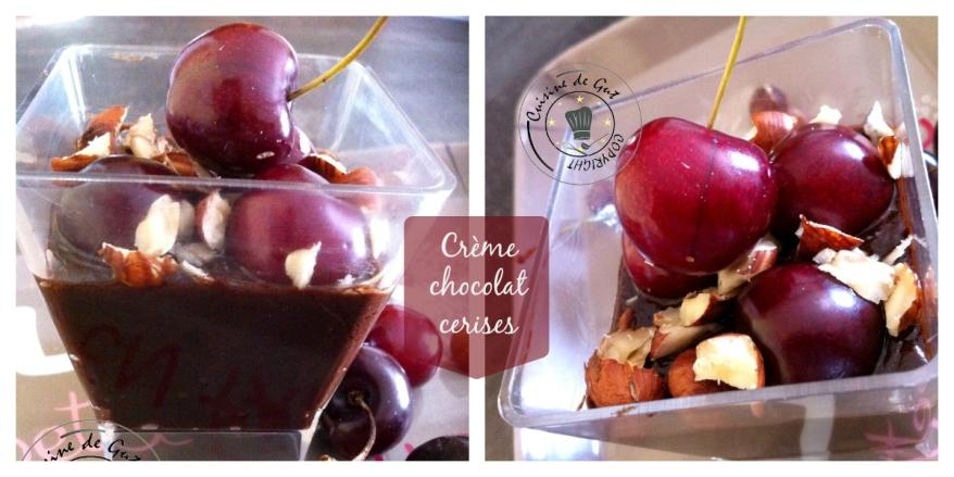 Crème chocolat cerises collage