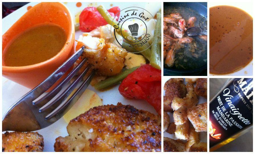 Crevettes et cabillaud panés sauce clémentine fruits de la passion Collage 2