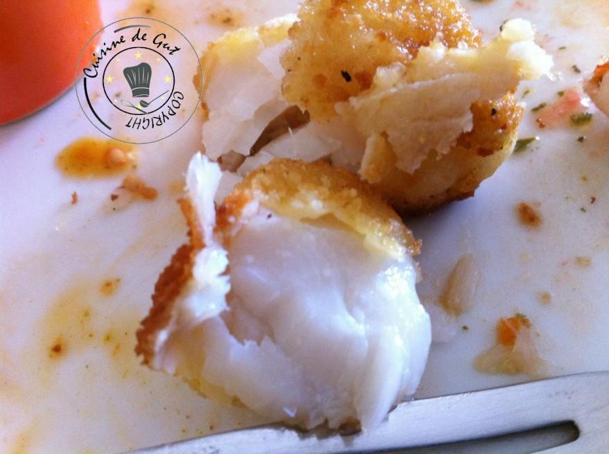 Crevettes et cabillaud panés sauce mandarine, fruits de la passion