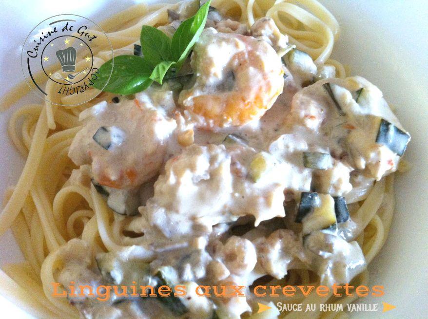 Linguines crevettes sauce rhum vanille1