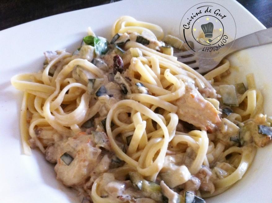 Linguines crevettes sauce rhum vanille2