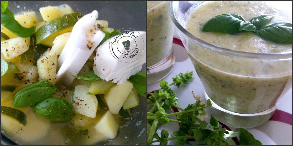Soupe froide de courgettes et chavroux collage