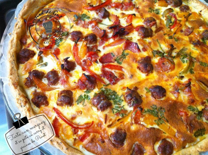 Tarte aux merguez et sa pâte curry et graines de pavot