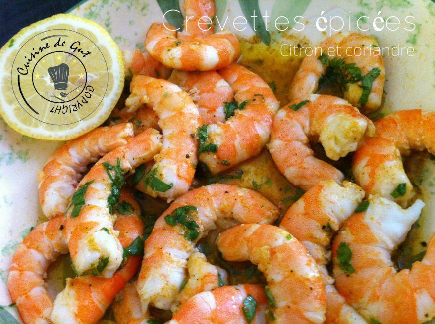 Crevettes citron et coriandre crues