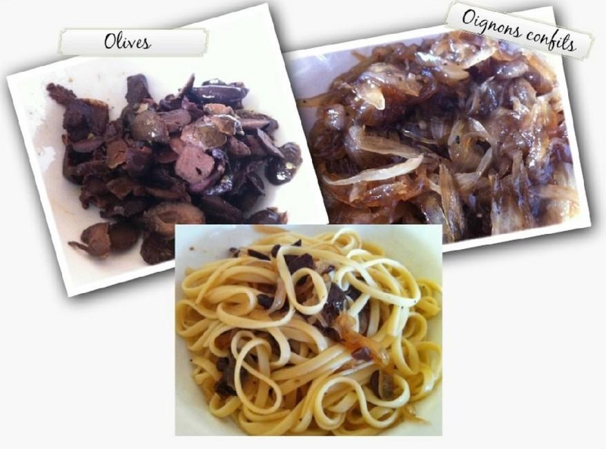 Linguines au confit d'oignons et Olives3
