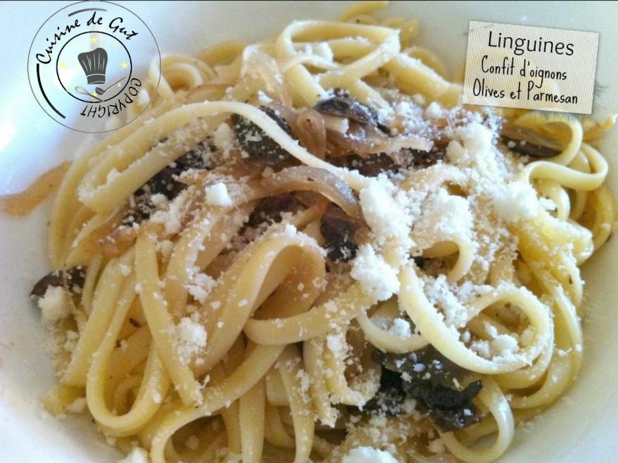 Linguines au confit d'oignons olives et parmesan