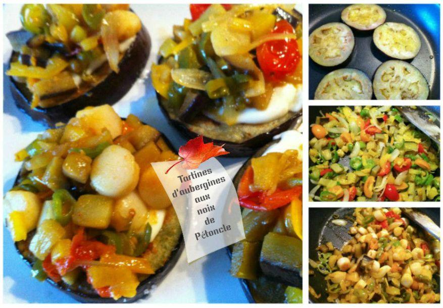 Tartines d'aubergines aux noix de Pétoncle
