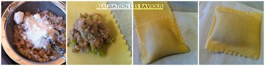 Raviolis poireaux champignons réalisation