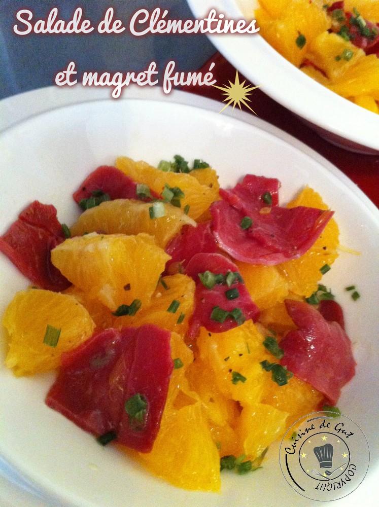 Salade de clementines et magret fumé1