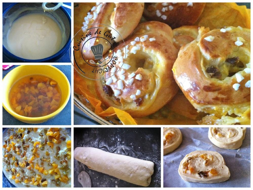 Pains aux raisins et abricots secs collage