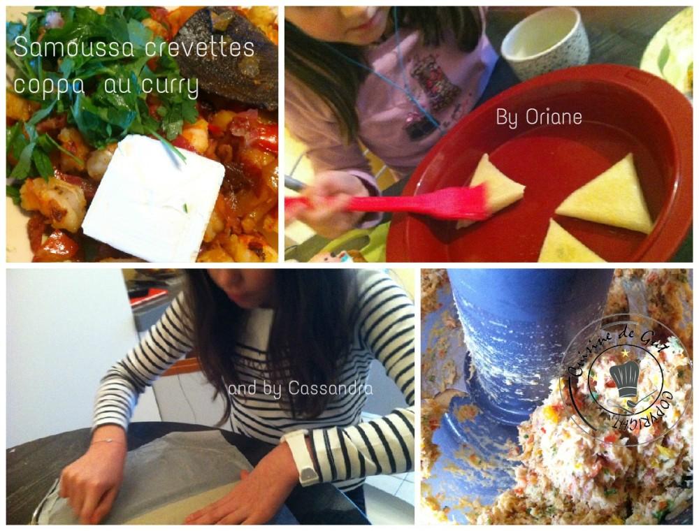 Samoussas crevettes coppa au curry collage