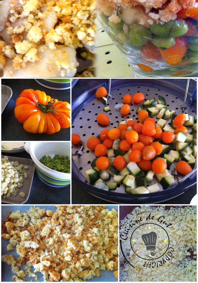 Salade de légumes et crumble italien montage