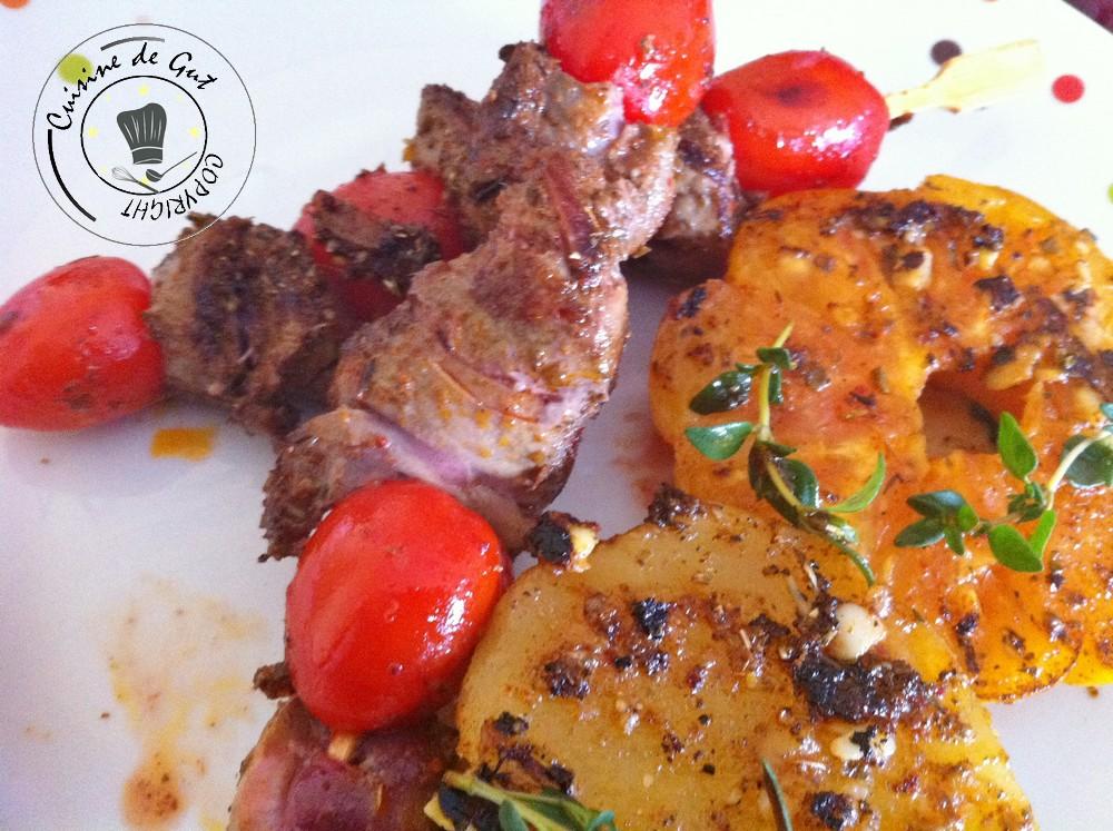 Brochettes de rognon de veau pic es la plancha - Cuisiner rognons de veau ...