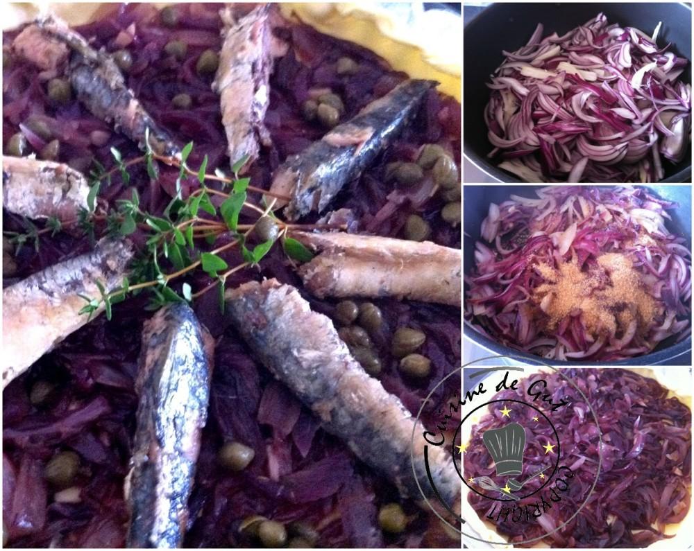 Pissaladière aux oignons rouges et sardines réalisation