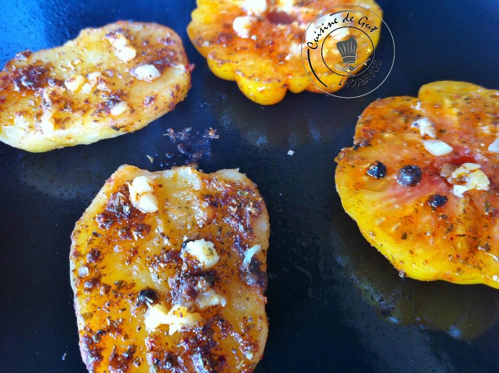 Plancha de Tomates ananas et pommes de terre aux épices