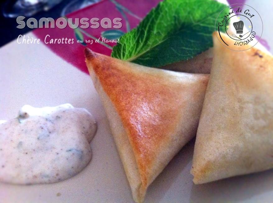 Samoussas chèvre carotte raz el hanout assiette