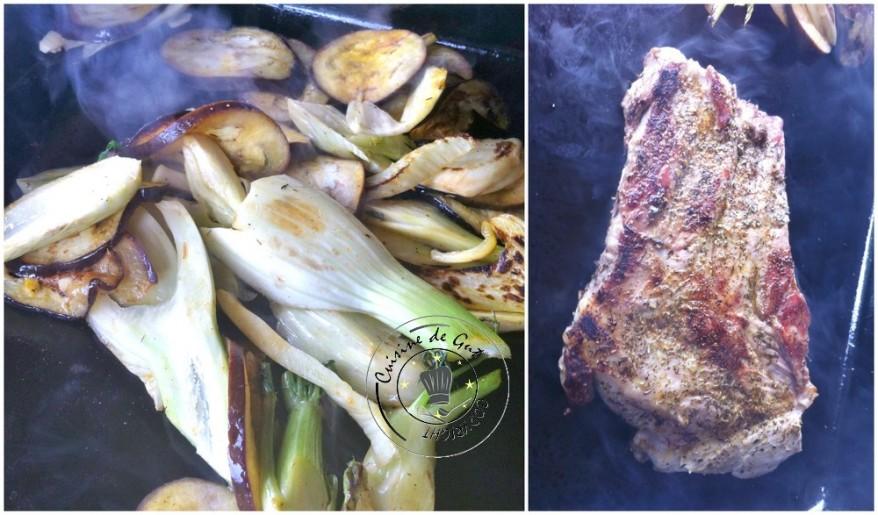 Travers de Porc à la plancha fenouil et aubergines cuisson